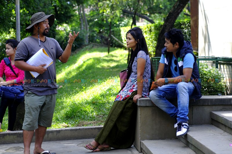 Romi Meetei, a director, during film shooting of 'Sangbrei Managi Chengi Manam'