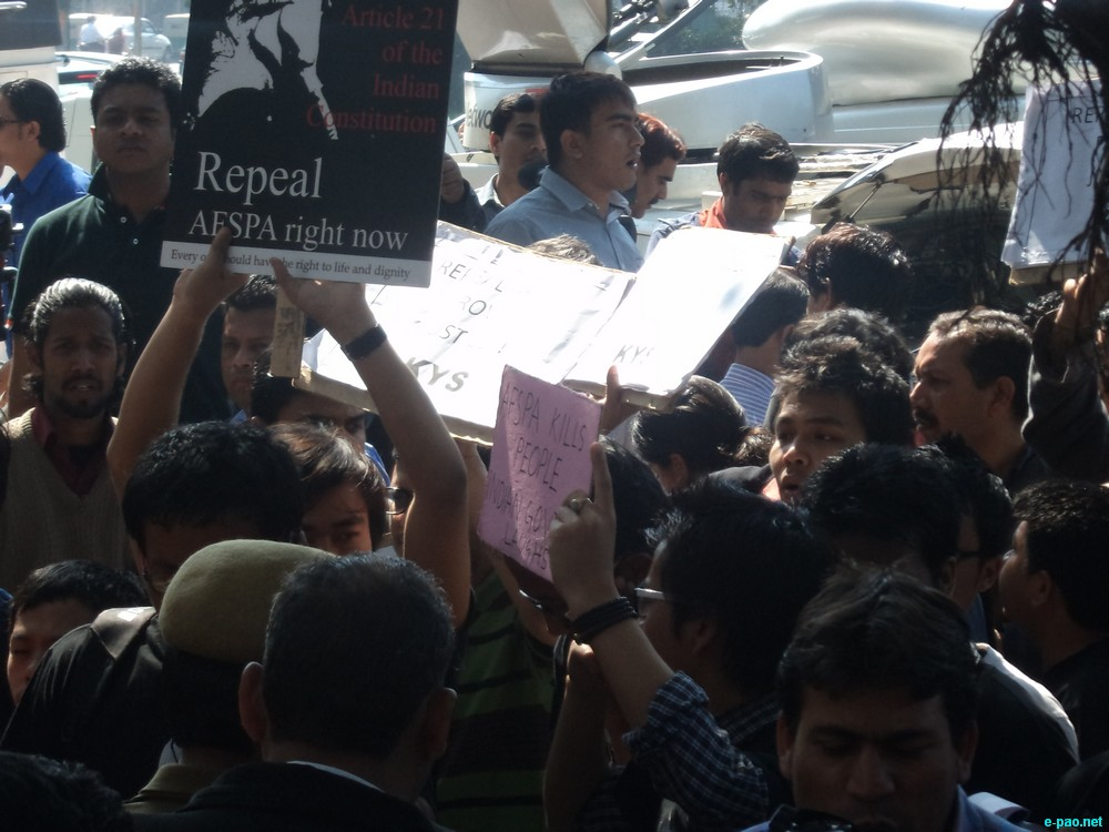 Protest in front of Patiala Court, Delhi  showing solidarity to Irom Sharmila on March 4 2013