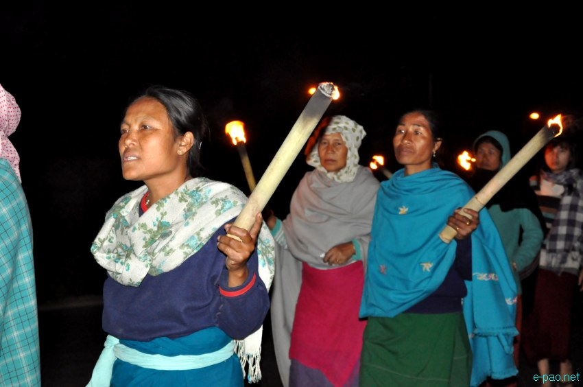 Meira Paibi rally against illegal drugs at Tiddim Road, Imphal on the night of March 1 2013