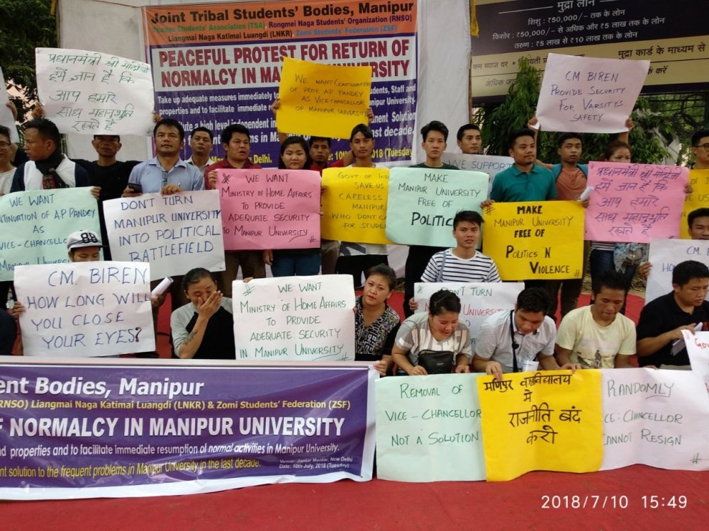 Tribal Students protest at New Delhi for normalcy in Manipur University :: July 10 2018