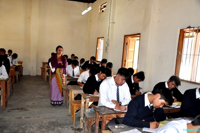 Students appearing for Class X and XII Exam at Bamon Leikai, Imphal :: 4 March 2013